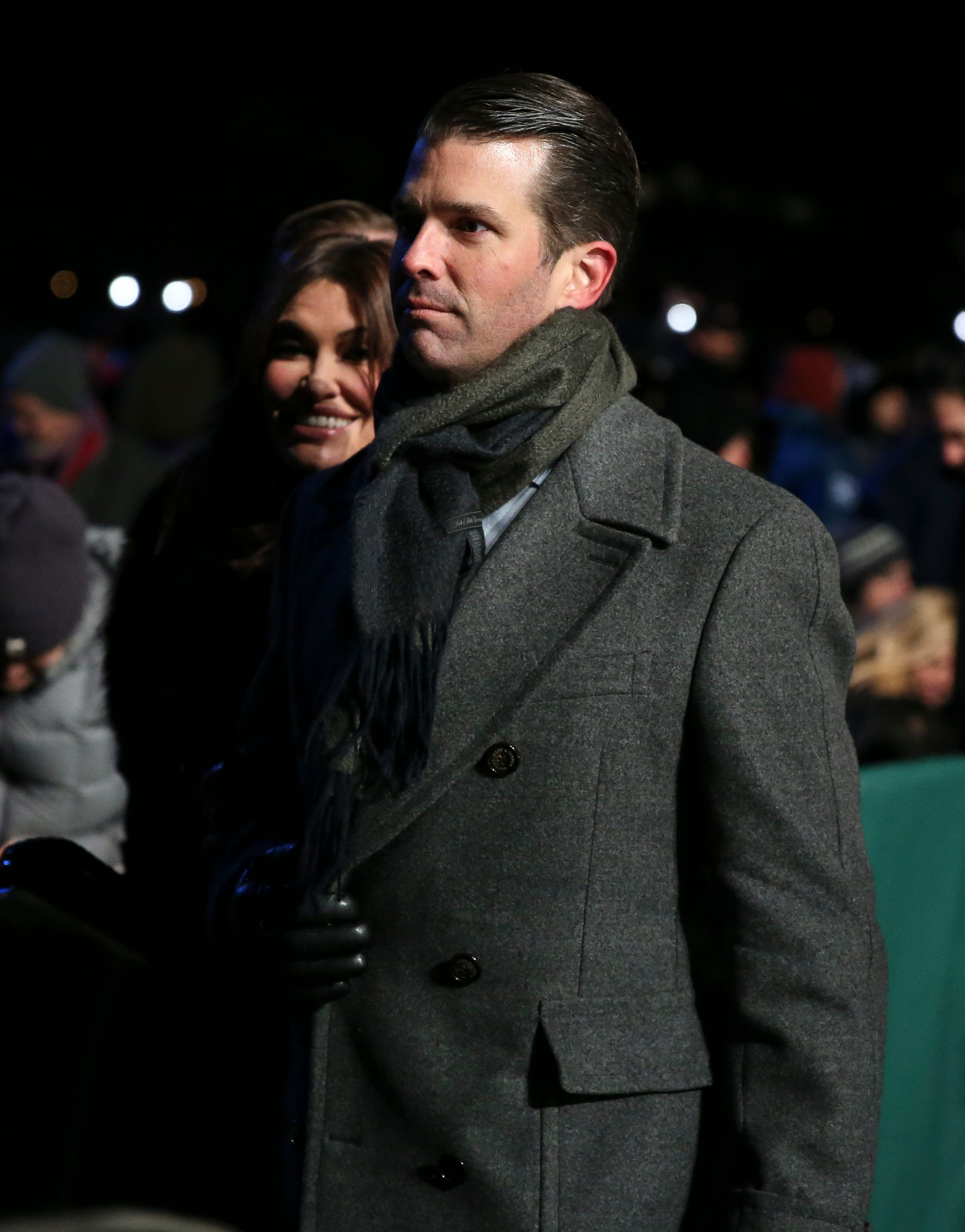 Donald Trump Jr. with his girlfriend Kimberly Guilfoyle attend the 2018 National Christmas Tree Lighting Ceremony at the Ellipse near the White House on November 28, 2018 in Washington, DC. (Photo by Oliver Contreras/SIPA USA)