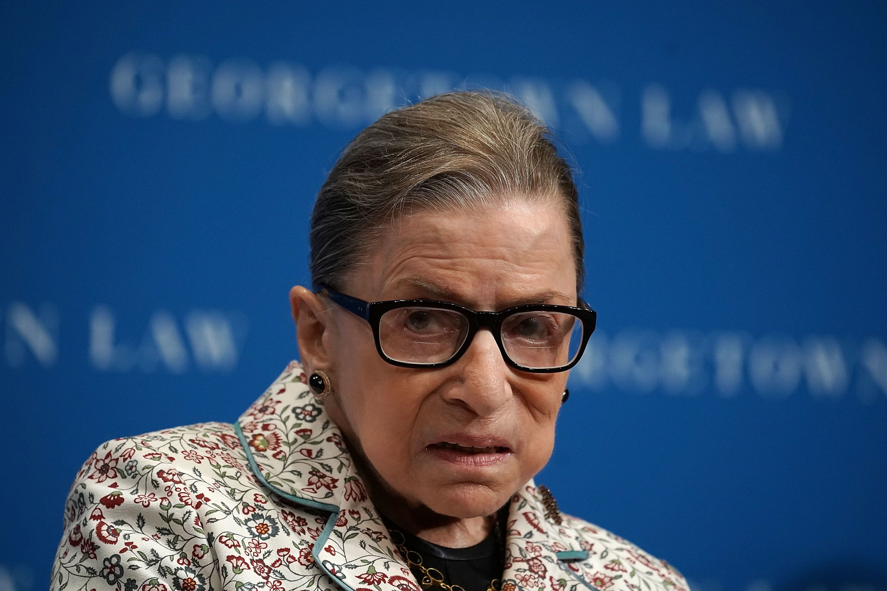 WASHINGTON, DC - SEPTEMBER 26:  U.S. Supreme Court Justice Ruth Bader Ginsburg participates in a lecture September 26, 2018 at Georgetown University Law Center in Washington, DC. Justice Ginsburg discussed Supreme Court cases from the 2017-2018 term at the lecture.  (Photo by Alex Wong/Getty Images)