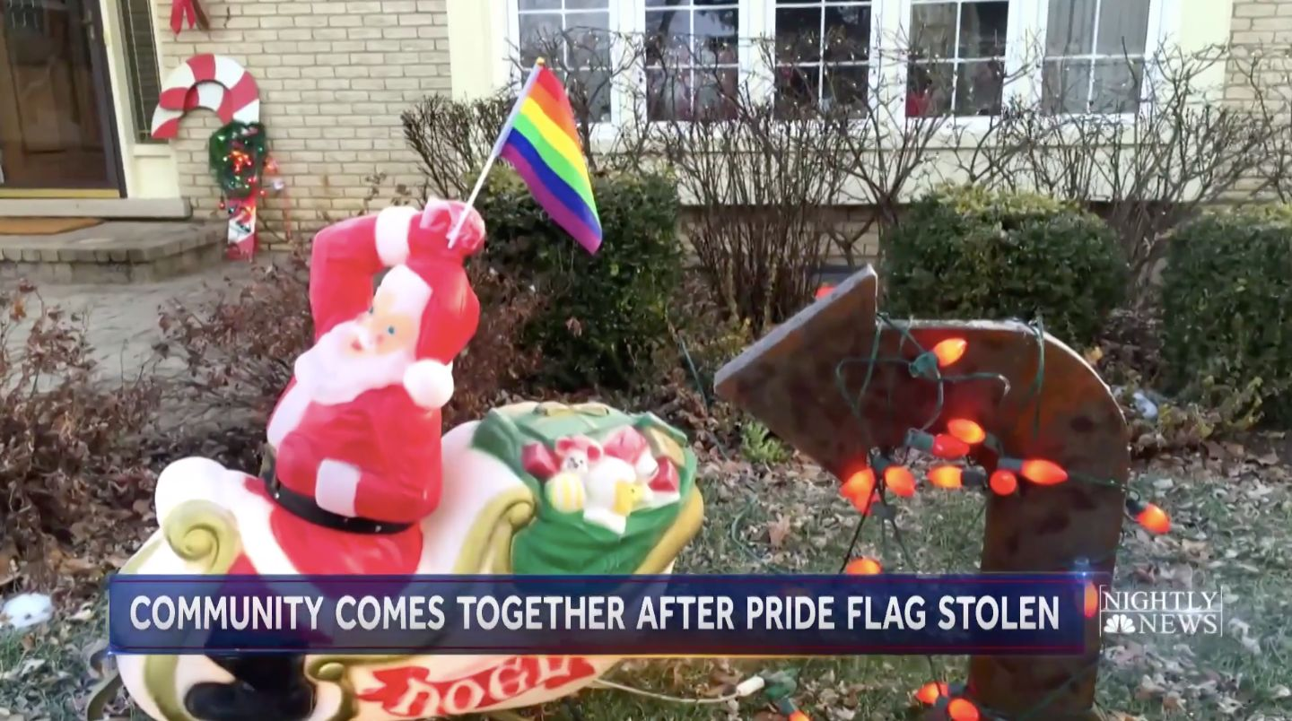 An Illinois couple had their rainbow pride flag stolen earlier this month and replaced with an American flag.