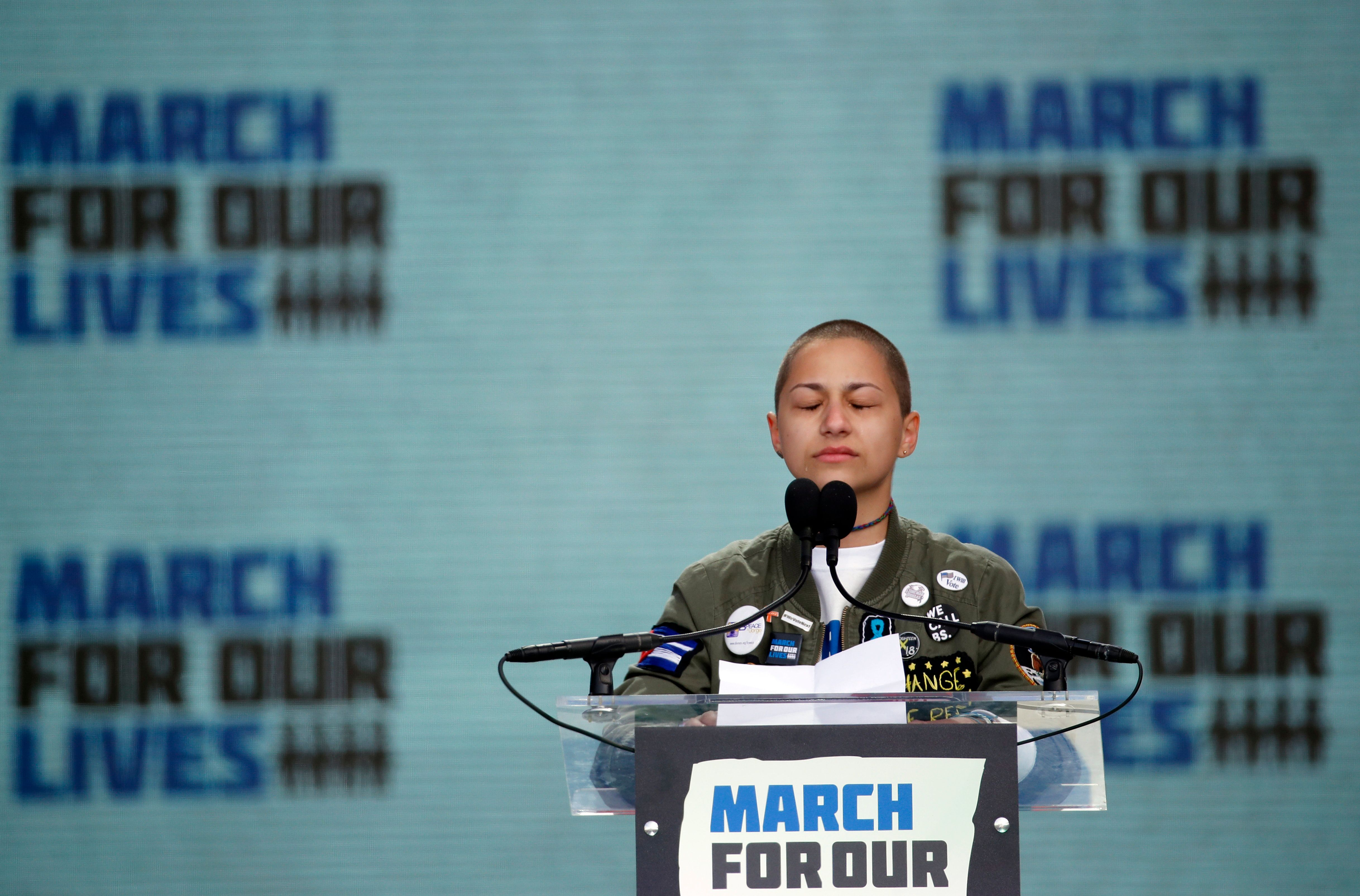 At a rally for gun control in Washington, D.C., in March, Emma Gonzalez, a survivor of the shooting at Marjory Stoneman Dougl
