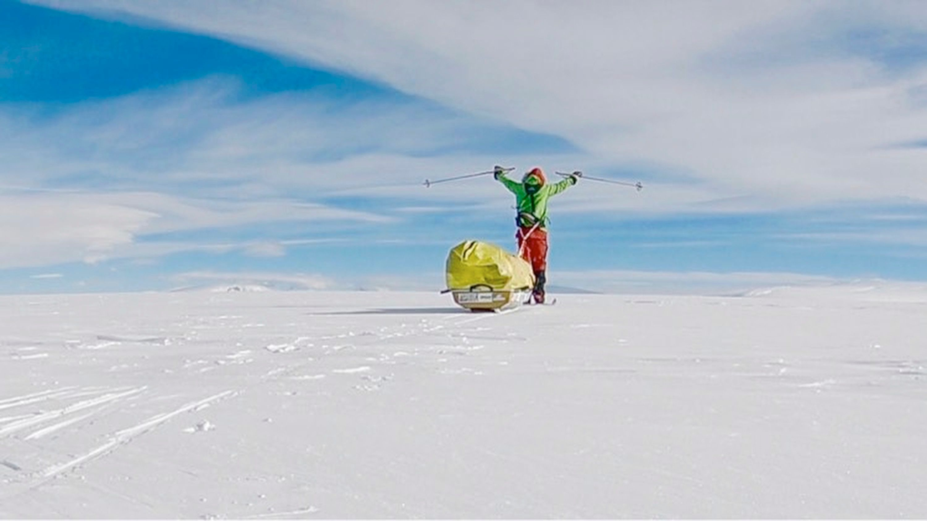 In this photo provided by Colin O'Brady, of Portland., Ore., he poses for a photo while traveling across Antarctica on Wednesday, Dec. 26, 2018. He has become the first person to traverse Antarctica alone without any assistance. O'Brady finished the 932-mile (1,500-kilometer) journey across the continent in 54 days, lugging his supplies on a sled as he skied in bone-chilling temperatures. (Colin O'Brady via AP)