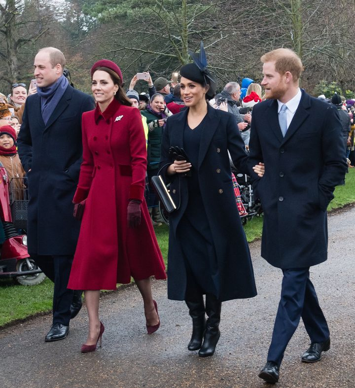Prince William, Catherine, Duchess of Cambridge, Meghan, Duchess of Sussex and Prince Harry, attend Christmas day churc