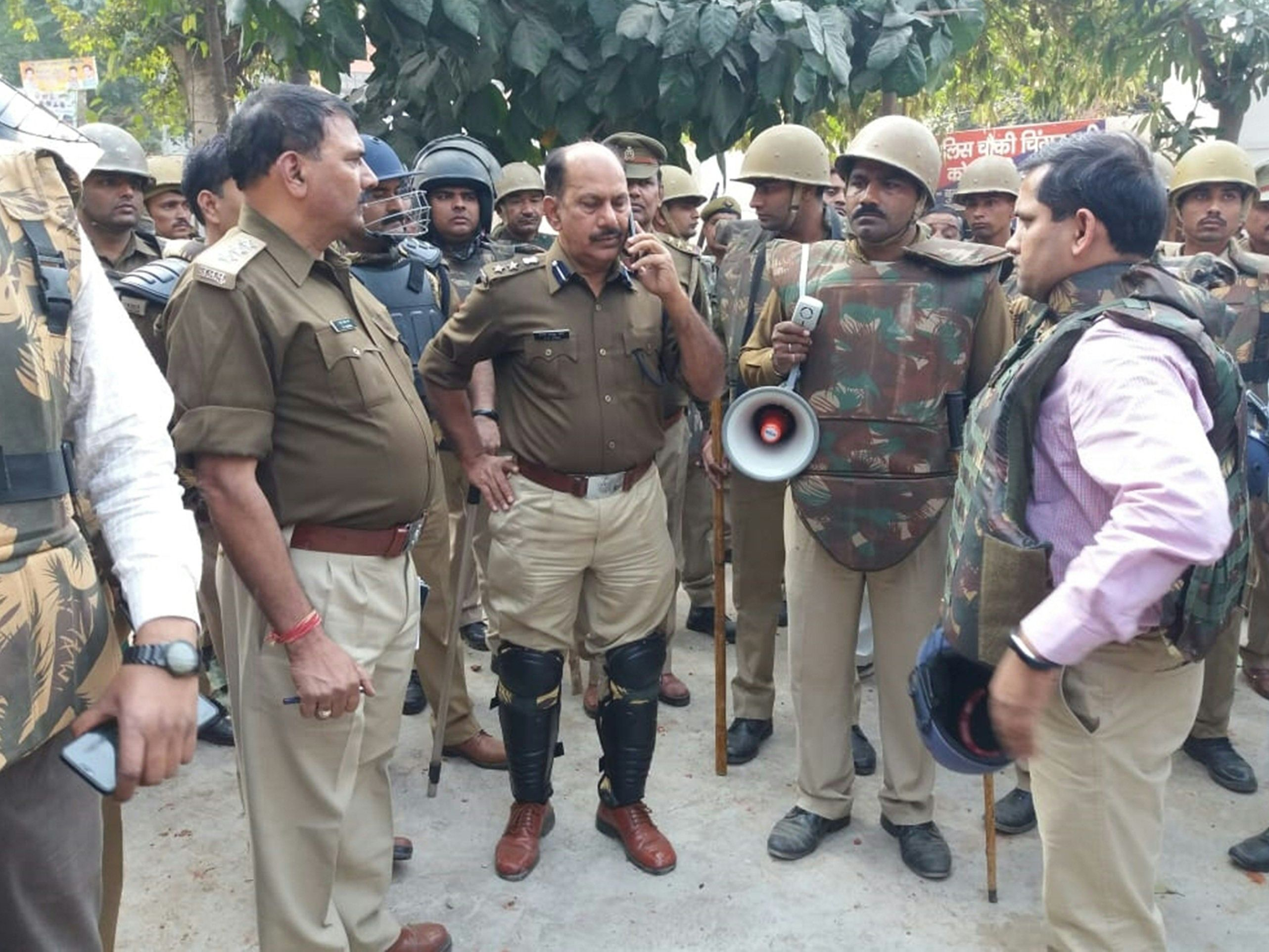 Police in Bulandshahr after mob violence in the