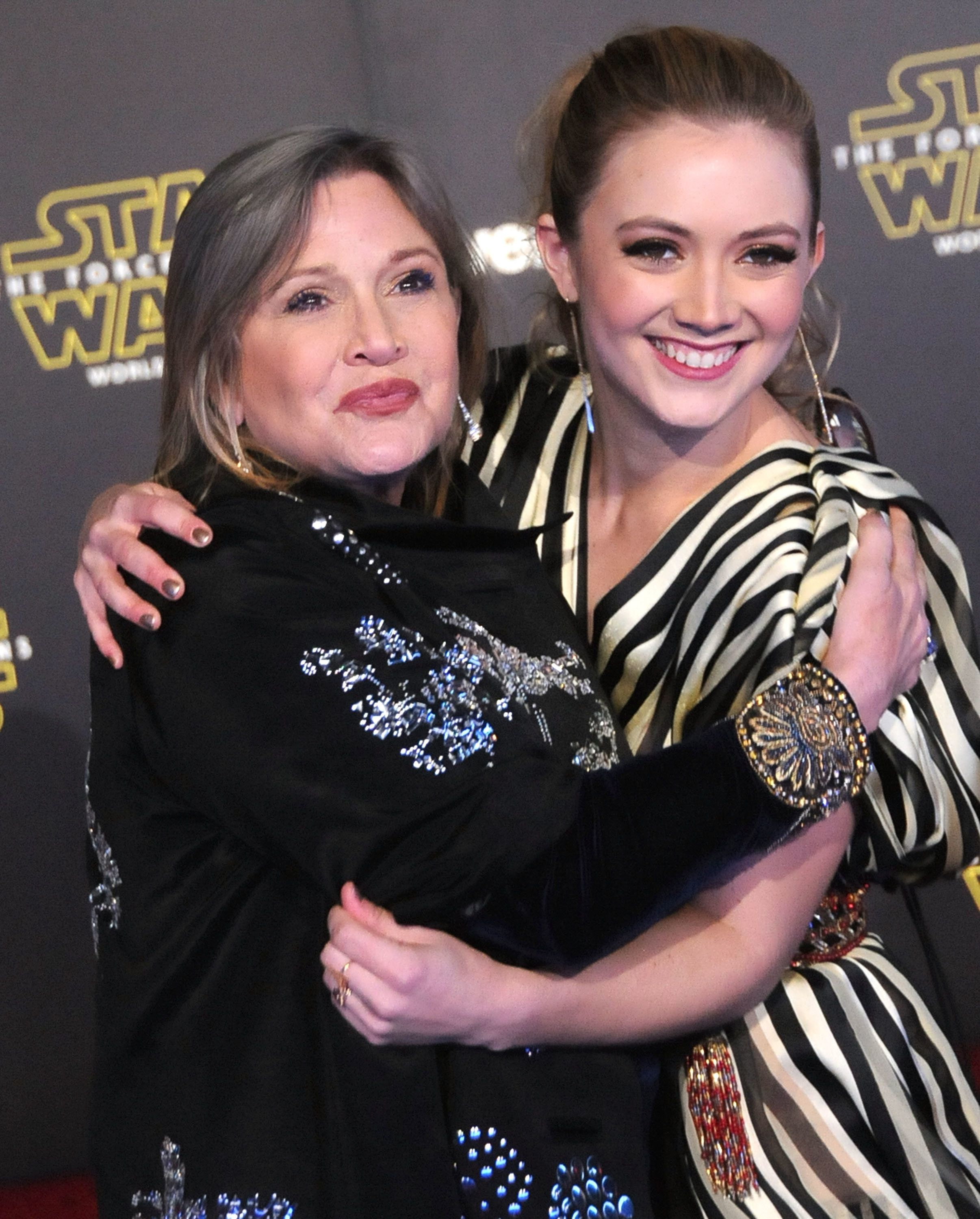"arrie Fisher and daughter actress Billie Lourd attend the premiere of ""Star Wars: The Force Awakens"" on Dec. 14, 2015 in Holl"
