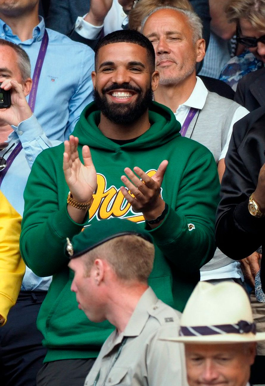 LONDON, ENGLAND - JULY 10: Rapper Drake attends and cheers on Serena Williams day eight of the Wimbledon Tennis Championships at the All England Lawn Tennis and Croquet Club on July 10, 2018 in London, England. Credit: Hoo-me.com/MediaPunch /IPX