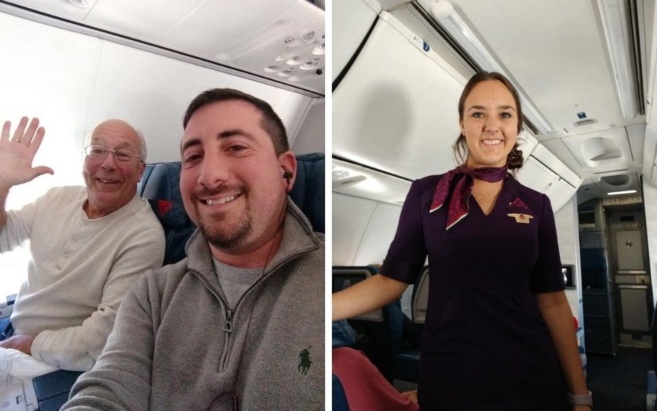 Flight attendant working on Christmas joined by father on every flight