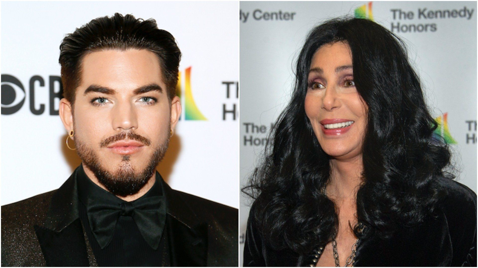 "Adam Lambert (left) paid tribute to Cher at the Kennedy Center Honors Dec. 3 with an emotional performance of ""Believe."""