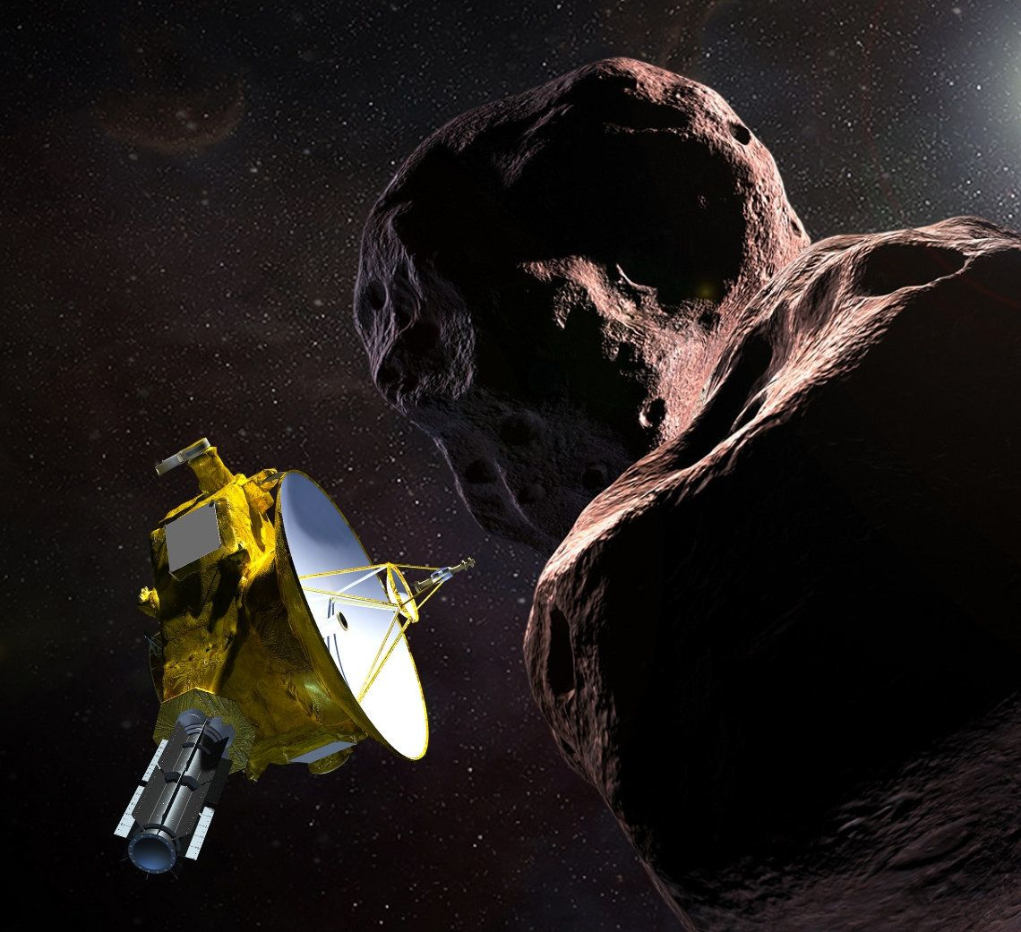 A rendering of the New Horizons probe and the celestial body it is rapidly approaching, Ultima Thule, provided by the Jo