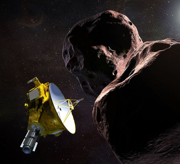 A rendering of theNew Horizons probe and the celestial body it is rapidly approaching, Ultima Thule, provided by the Jo