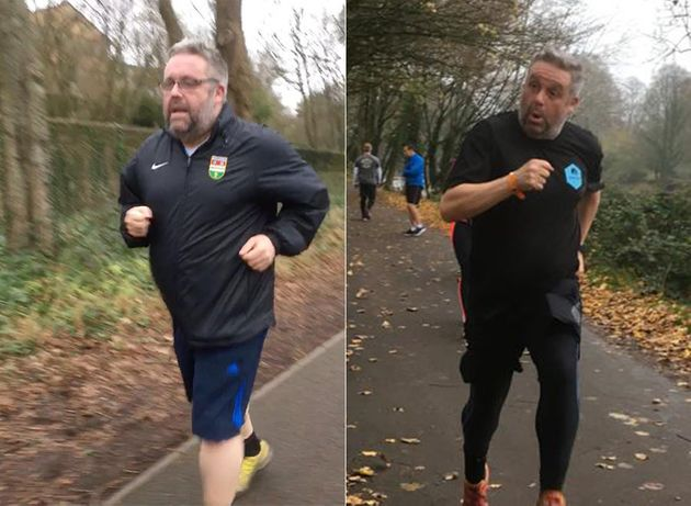 Peter Johnson on his second Parkrun in January 2018 (left) and 40th Parkrun in November
