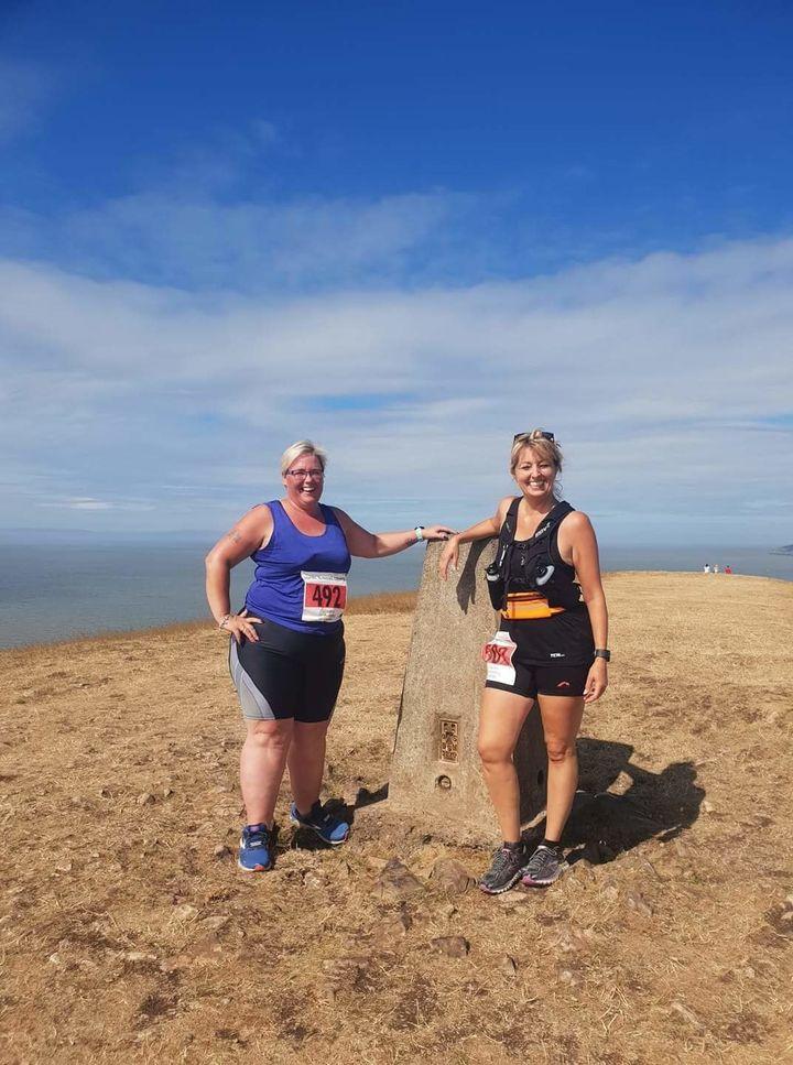 Linda Kibble and her friendVicky Hale on Mount Snowdon.