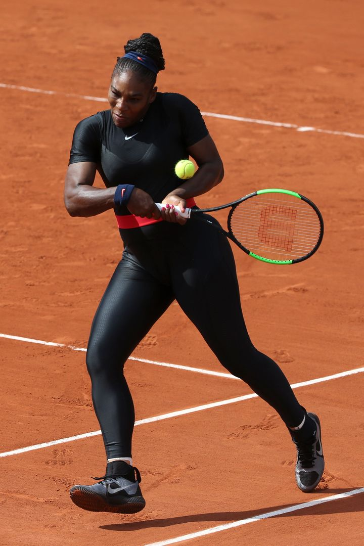 Williams at the French Open at Roland Garros Stadium on June 3 in Paris. She was barred from wearing the catsuit again a