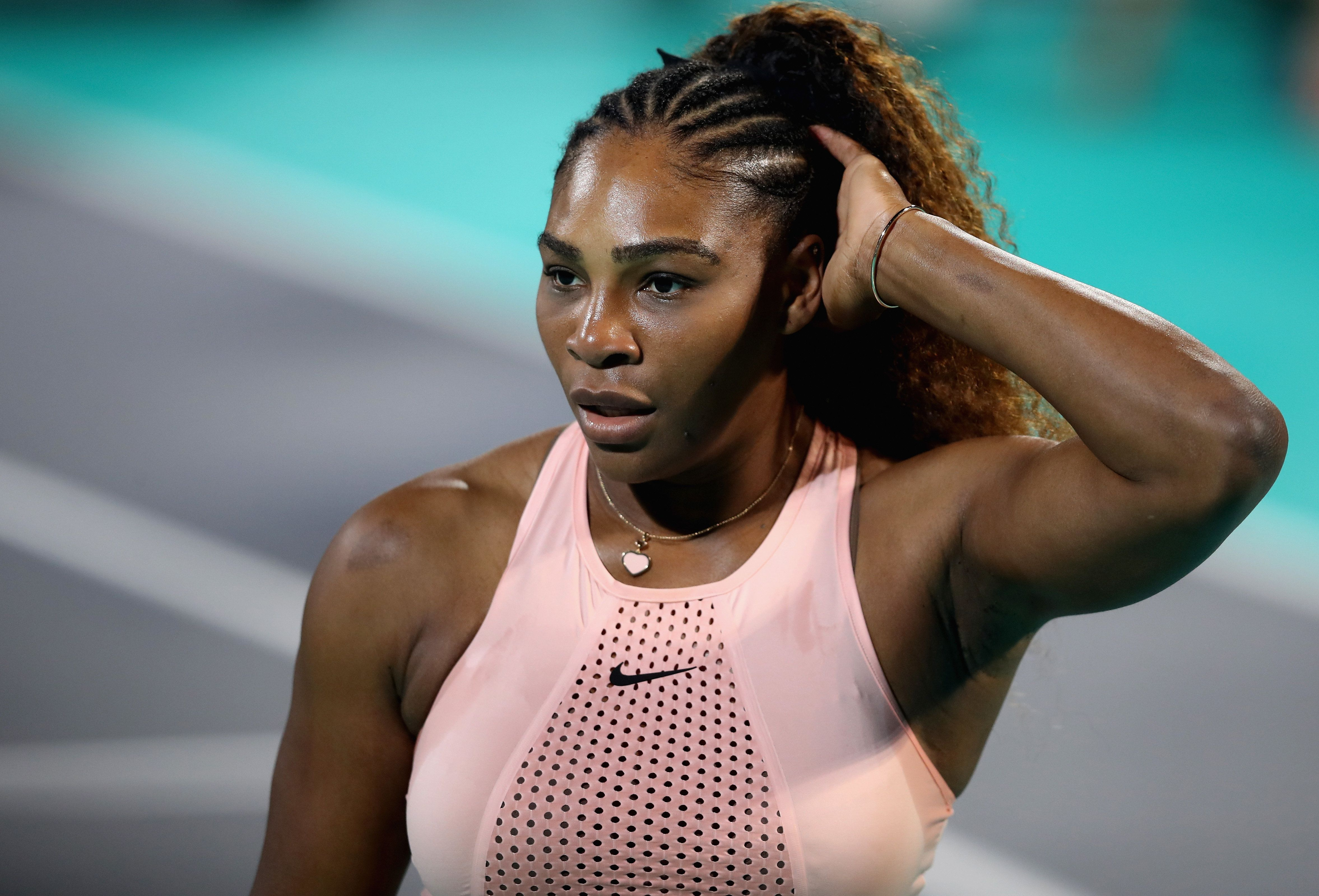 ABU DHABI, UNITED ARAB EMIRATES - DECEMBER 27:  Serena Williams of United States reacts during her womens's singles match on day one of the Mubadala World Tennis Championship at International Tennis Centre Zayed Sports City on December 27, 2018 in Abu Dhabi, United Arab Emirates.  (Photo by Francois Nel/Getty Images)