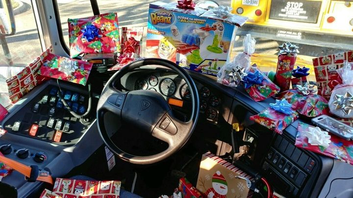 Curtis Jenkins, a bus driver for the Richardson Independent School District in Texas, packed his bus with Christmas pres