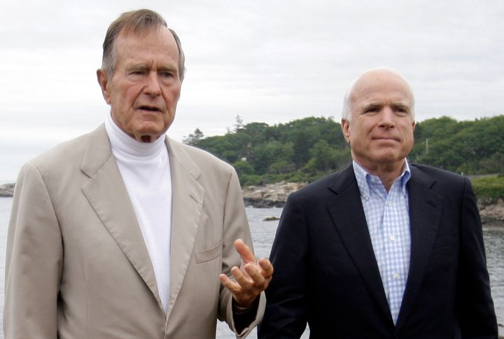 Former President George H.W. Bush and Sen. John McCain hold a news conference in July 2008 at the Bush family home in Ke