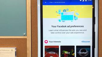 "A display screen is shown inside a Facebook ""pop-up"" trailer in New York's Bryan Park on Thursday, Dec. 13, 2018. The company hosted a one-day event open to the public, with Facebook employees on hand to answer questions about privacy and other issues. The pop-up event caps a difficult year for the company. (AP Photo/Barbara Ortutay)"