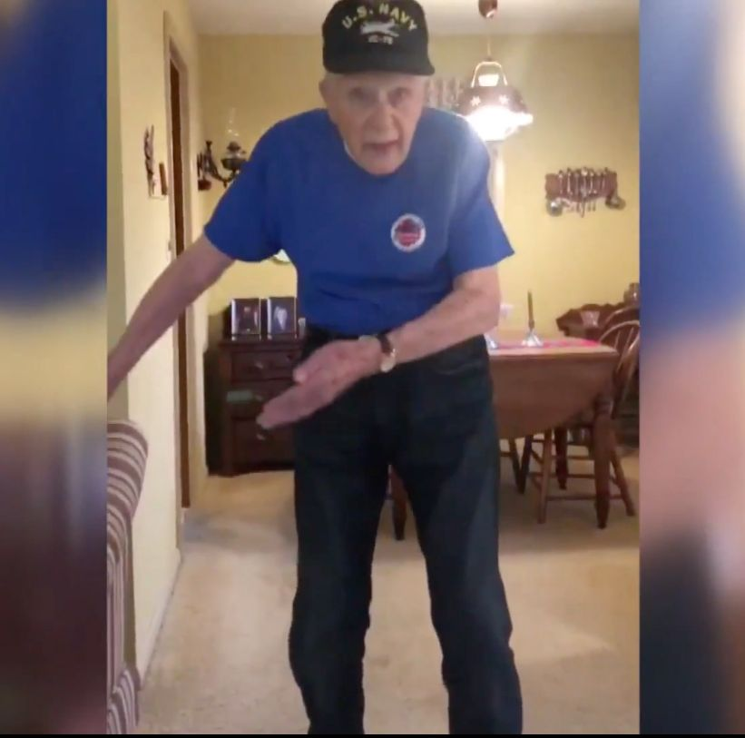 96-year-old war vet does the floss