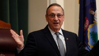 Gov. Paul LePage delivers the State of the State address to the Legislature, Tuesday, Feb. 13, 2018, at the State House in Augusta, Maine. (AP Photo/Robert F. Bukaty)