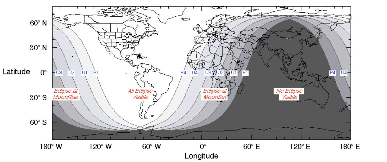 A NASA map shows the regions of the world where the total lunar eclipse of Jan. 20 to 21 was visible.