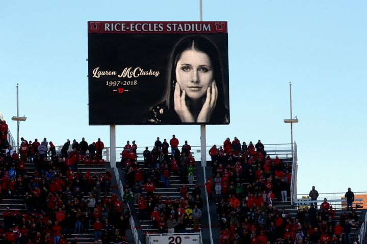 An image of the late student-athlete Lauren McCluskey is projected on the video board at the University of Utah's Rice-Eccles Stadium before the start of an NCAA match on Nov. 10, 2018.