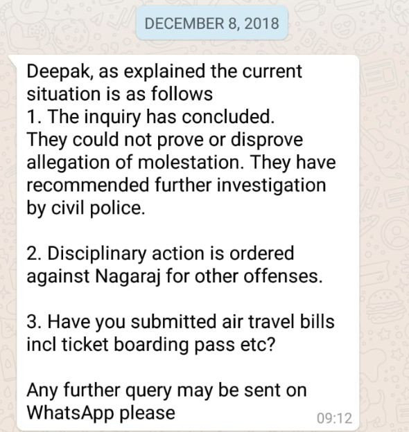 WhatsApp message sent by Brigadier V.T Mathew to the complainant's husband on 8