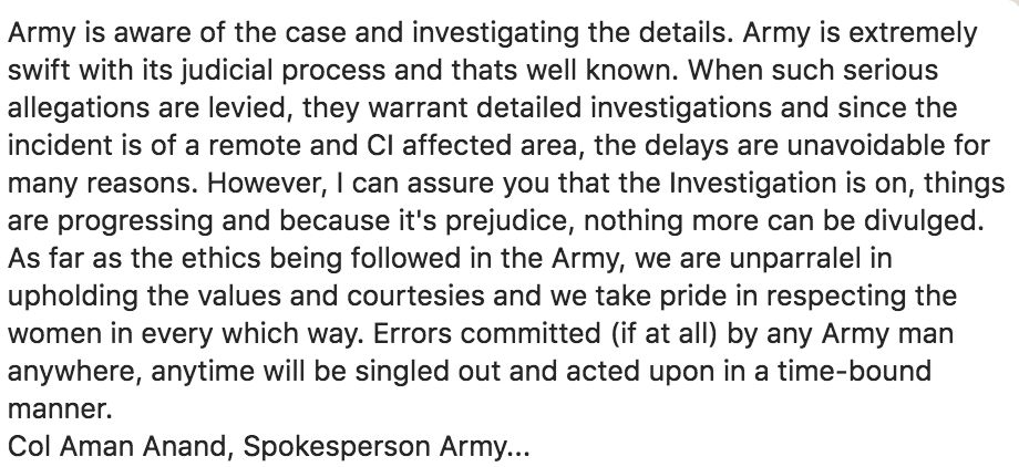 The Indian Army Dismissed My Allegation Of Molestation Without Hearing Me Out, I Was Told On WhatsApp,...