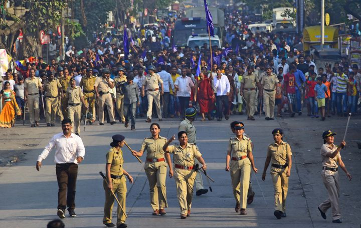 Dalits protesting after violence in Bhima Koregaon earlier this year