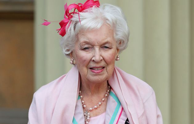 Dame June Whitfield seen at Buckingham Palace last