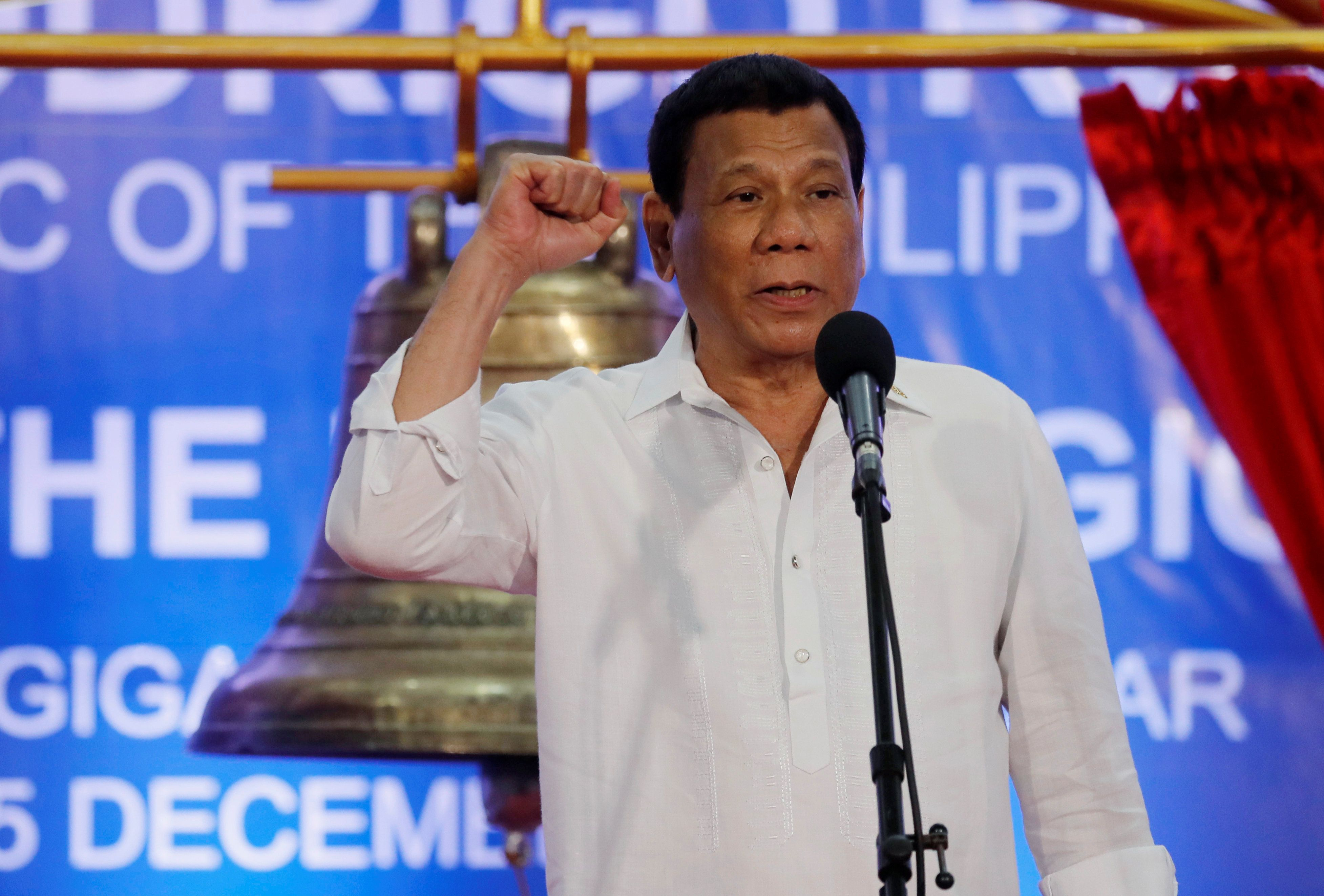 Philippine President Rodrigo Duterte said in a speech on Saturday that he
