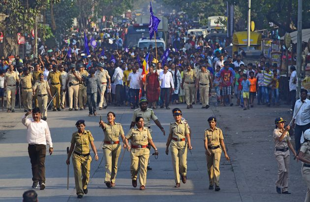 Dalits protesting after violence in Bhima Koregaon on January