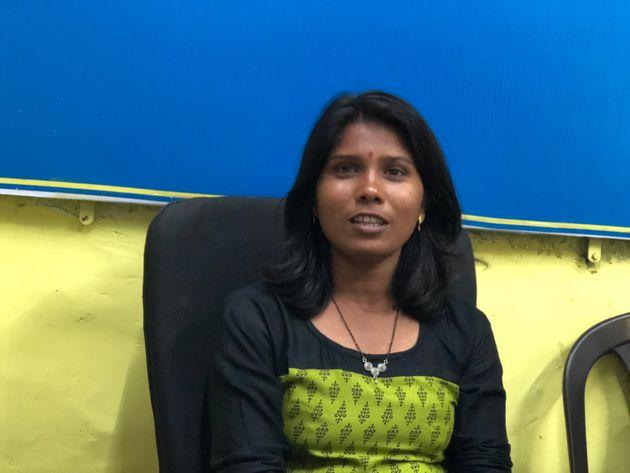 Dalit activist Anjana Gaikwad at her office in Pimpari