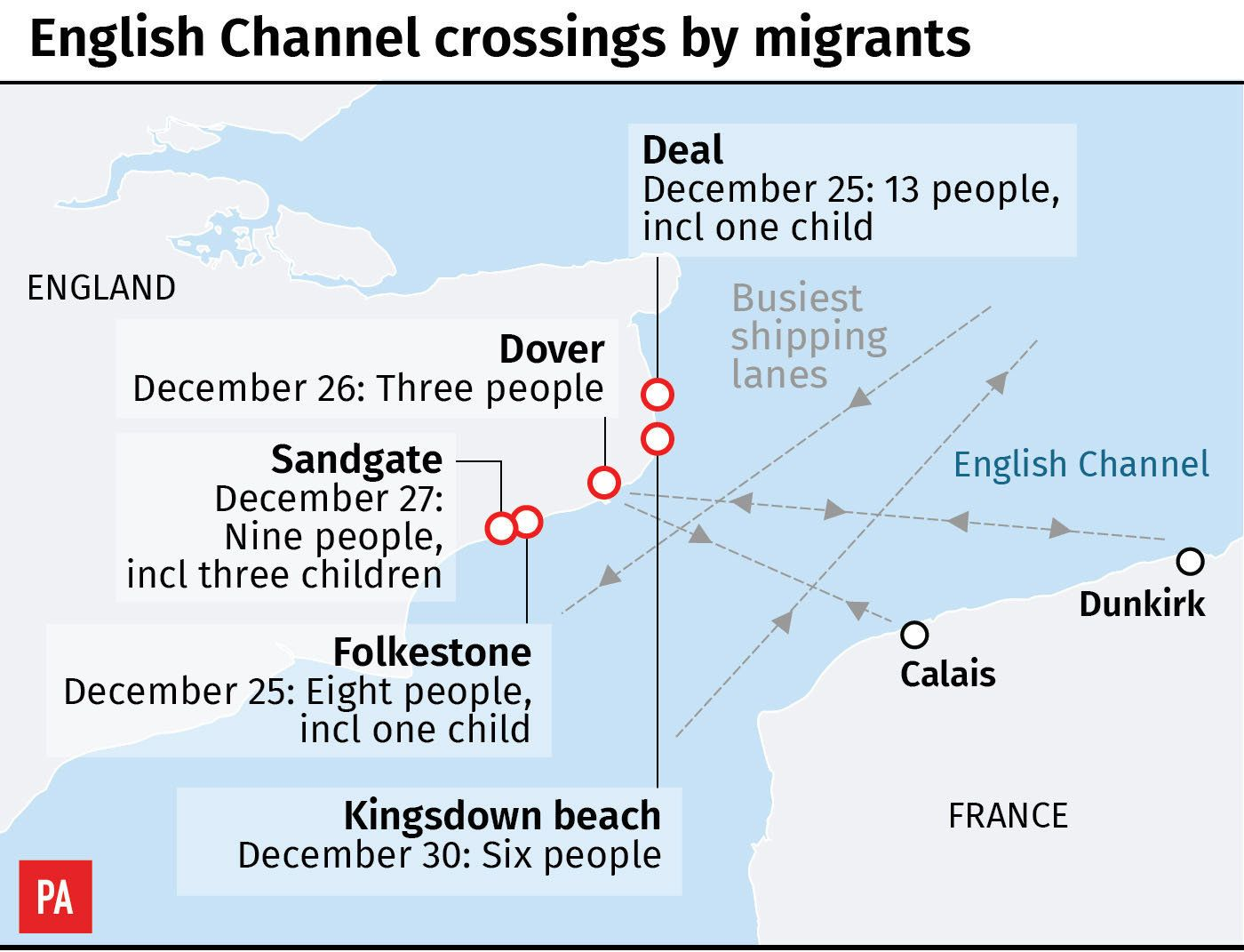 Migrants detained on Kent beach after risking their lives crossing English Channel
