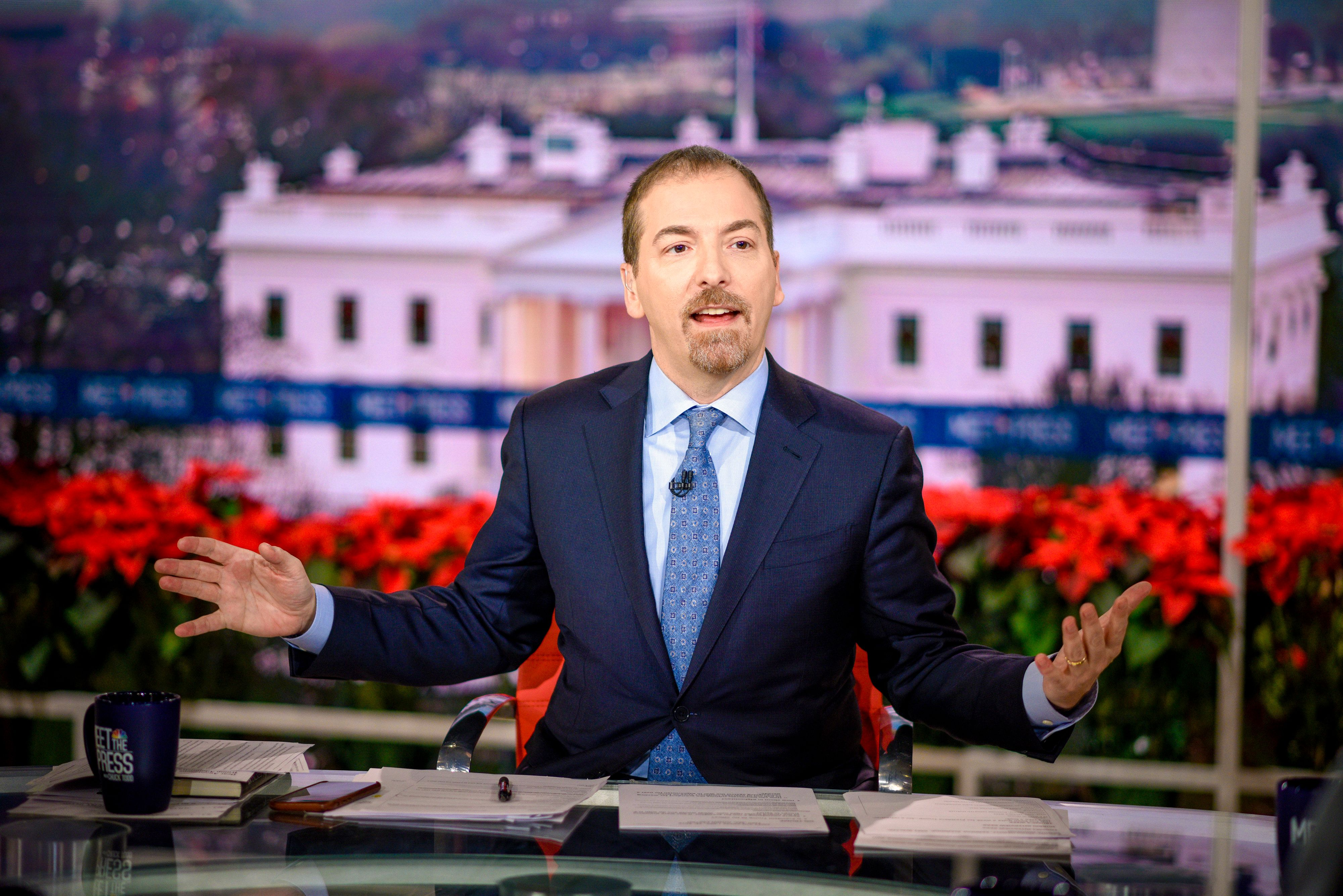 MEET THE PRESS -- Pictured: (l-r)  Moderator Chuck Todd appears on 'Meet the Press' in Washington, D.C., Sunday, Dec. 23, 2018.  (Photo by: William B. Plowman/NBC/NBC NewsWire via Getty Images)