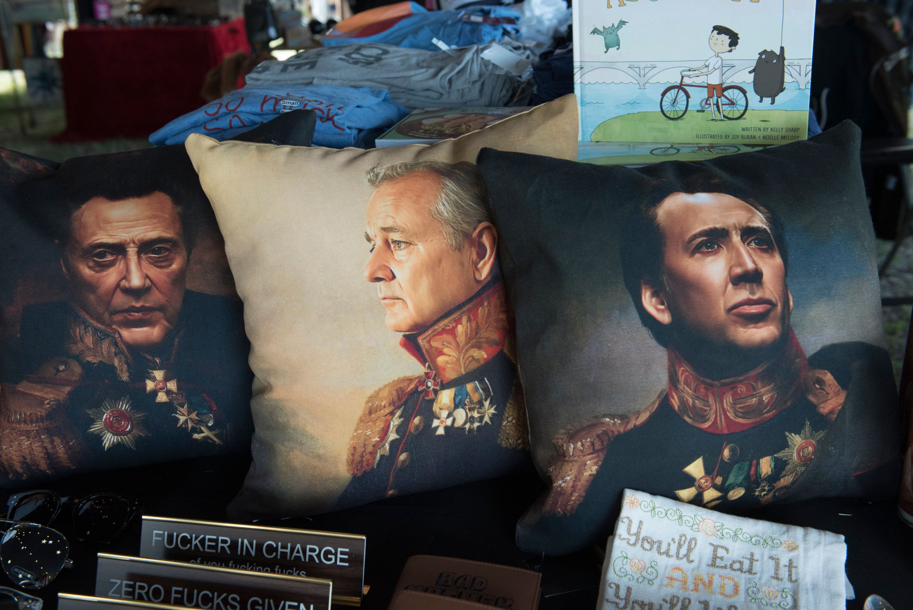 AUSTIN, TX - MARCH 15:  Throw pillows featuring Christopher Walken, Bill Murray and Nicholas Cage are available at the Luck Reunion held on Willie Nelson's ranch on March 15, 2018 in Spicewood, Texas.  (Photo by Jim Bennett/WireImage)
