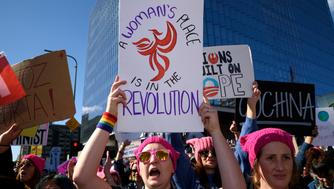 Participants in the Women's March in Los Angeles, California on January 21, 2017. An estimated crowd of 750,000 people marched in protest of President Trump. This was one of hundreds of similar marches held around the world the day after Trump's inauguration. (Photo by Ronen Tivony) *** Please Use Credit from Credit Field ***