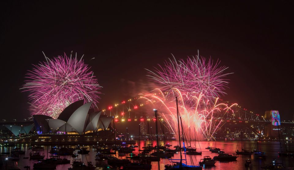 An hours-long fireworks show had preceded midnight in the