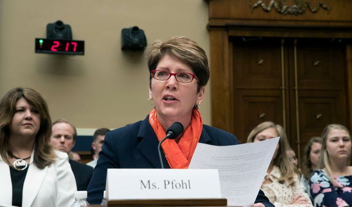 In this May 23, 2018, file photo, U.S. Center for SafeSport President and CEO Shellie Pfohl testifies before the House Commer