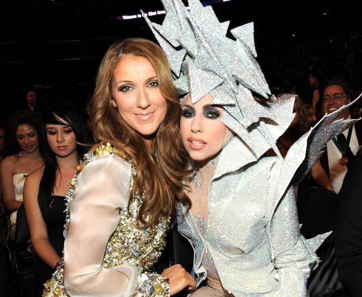 Celine Dion and Lada Gaga pose together backstage at the 52nd annual Grammy Awards.
