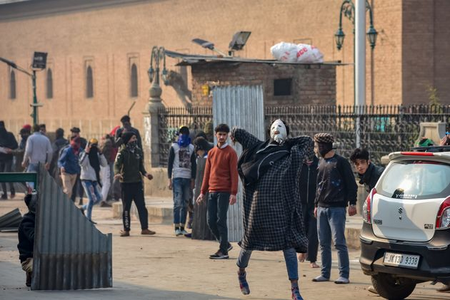 Kashmiri protesters seen on the streets during clashes in Srinagar  21 December