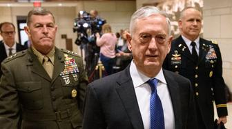US Defense Secretary Jim Mattis arrives to brief House members on Yemen, Saudi Arabia and the murder of Saudi critic Jamal Khashoggi, at the US Capitol in Washington, DC, on December 13, 2018. (Photo by MANDEL NGAN / AFP)        (Photo credit should read MANDEL NGAN/AFP/Getty Images)