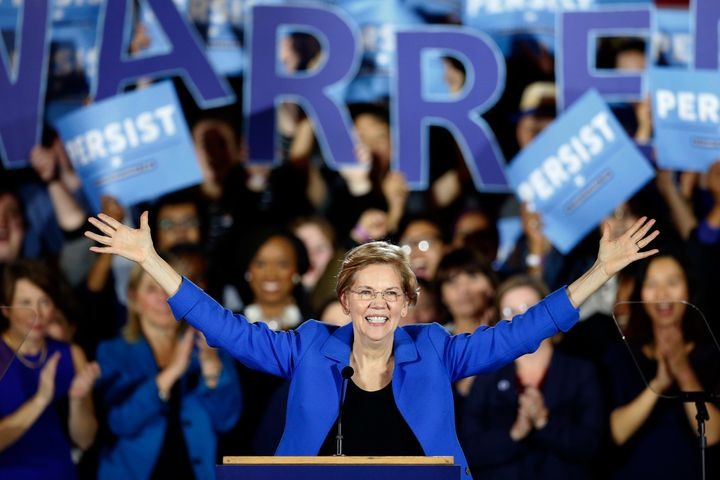 FILE - In this Nov. 6, 2018, file photo, Sen. Elizabeth Warren (D-Mass.) gives her victory speech at a Democratic election wa