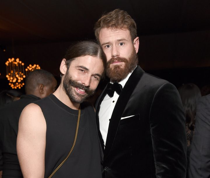 Jonathan Van Ness and Wilco Froneman attend the Netflix Primetime Emmys afterparty in 2018. Van Ness referenced Ariana G
