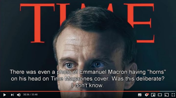 A YouTube-recommended conspiracy theory video with more than 120,000 views argues Emmanuel Macron is the Antichrist, in part