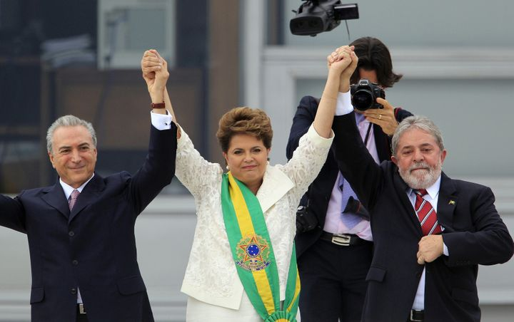 Brazilian President Dilma Rousseff with Vice President Michel Temer, left, and outgoing President Luiz Inácio Lula da Silva, right, on Jan. 1, 2011.Since then, Rousseff has been impeached, Da Silva has been imprisoned and Temer has only narrowly escaped trial on bribery charges.