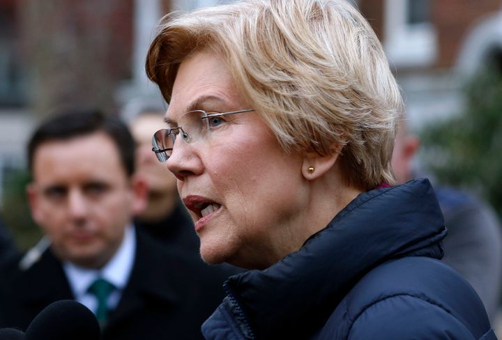 Sen. Elizabeth Warren (D-Mass.) speaks outside her home on Dec. 31, 2018. Warren took the first major step toward launching a