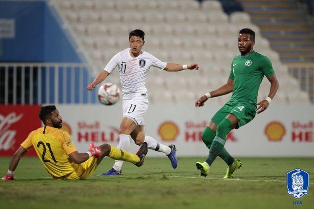 벤투 감독이 이끄는 한국 남자축구 대표팀이 사우디와의 평가전에서