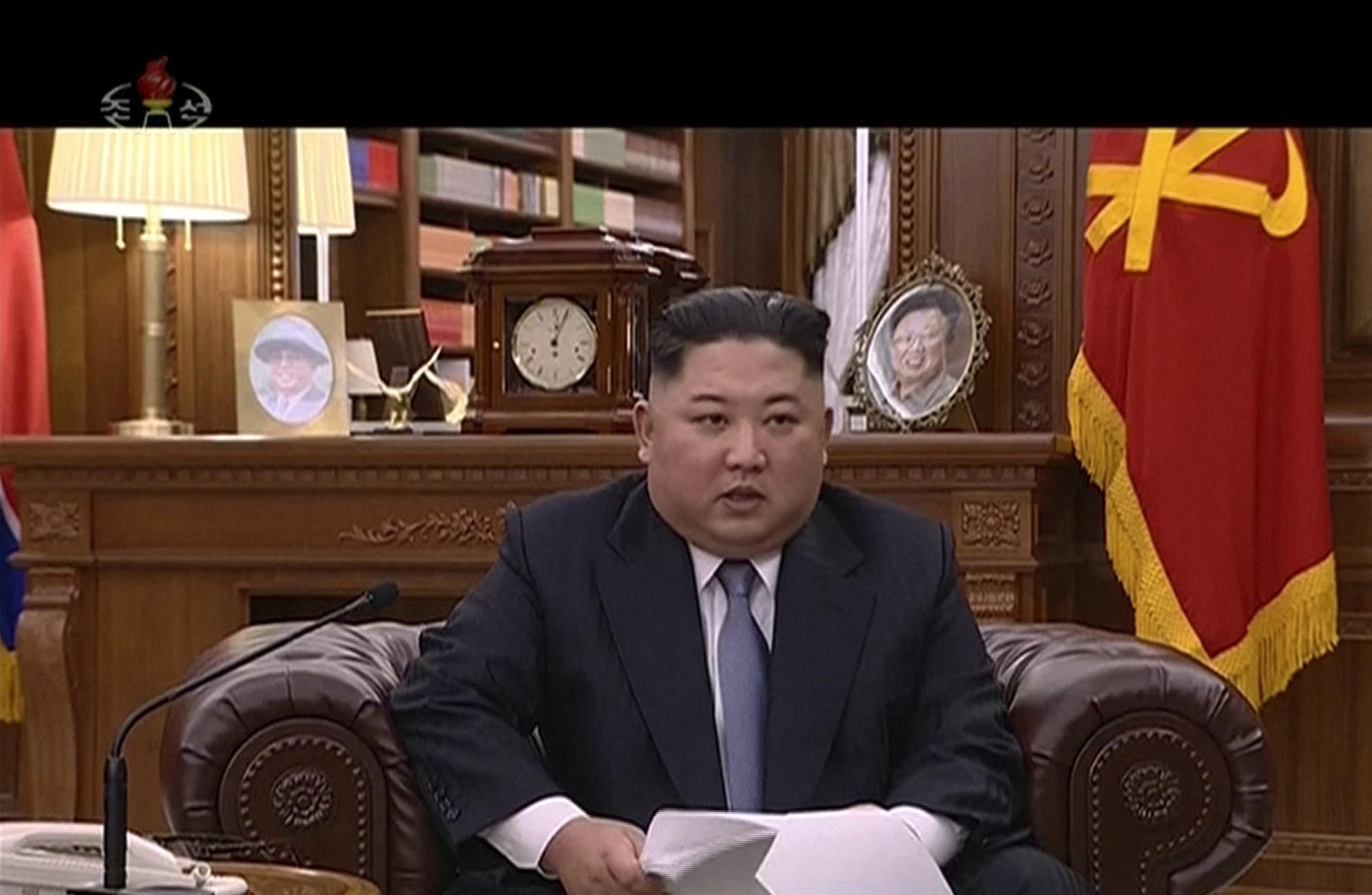 Kim Jong-un bei seiner Neujahrsrede.
