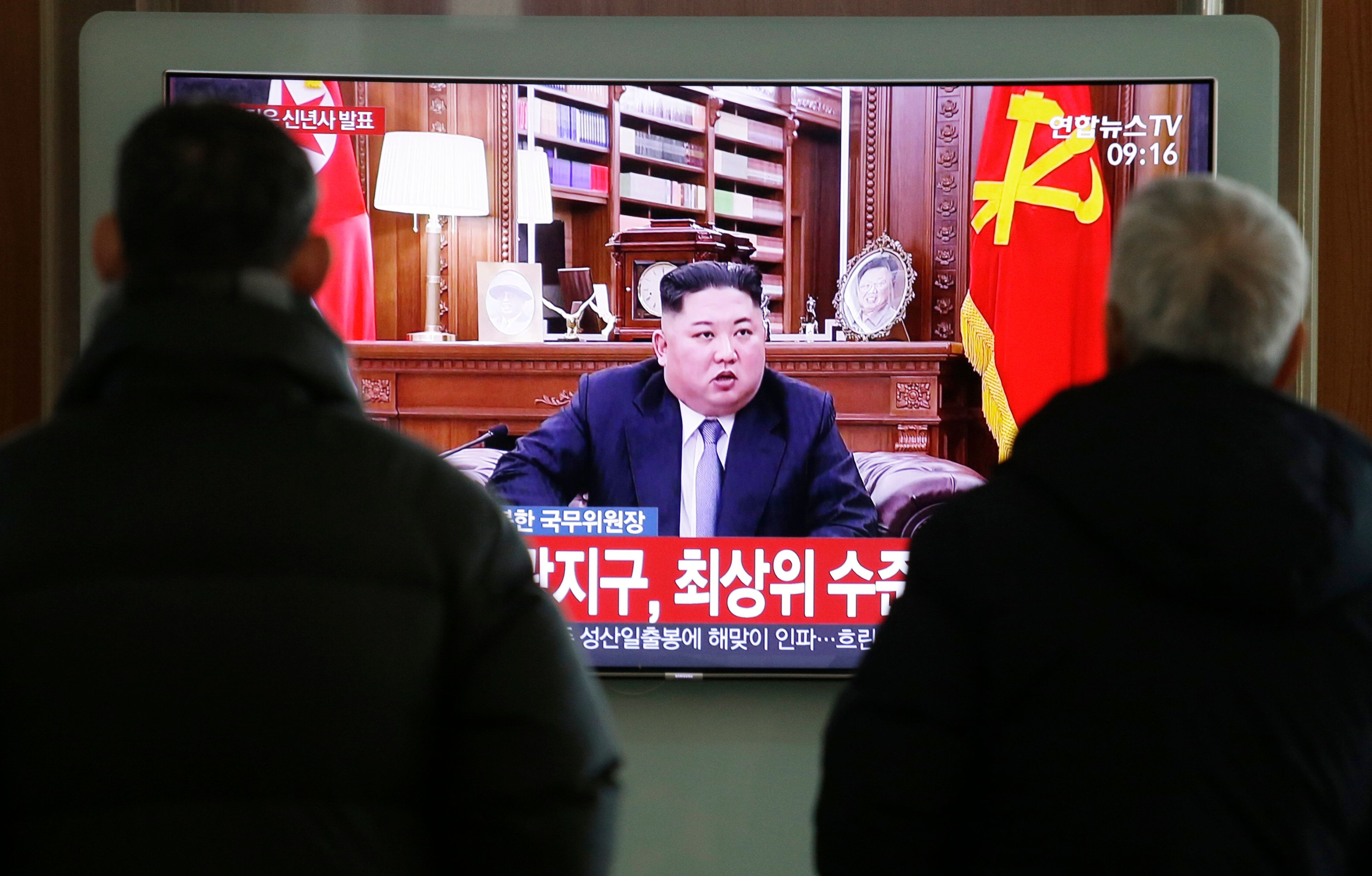 "People watch a TV screen showing North Korean leader Kim Jong Un delivering a New Year's speech, at Seoul Railway Station in Seoul, South Korea, Tuesday, Jan. 1, 2019. The letters on the screen read: "" The best level."" North Korean leader Kim says he hopes to extend his high-stakes nuclear summitry with President Donald Trump into 2019, but also warns Washington not to test North Koreans' patience with sanctions and pressure. (AP Photo/Ahn Young-joon)"