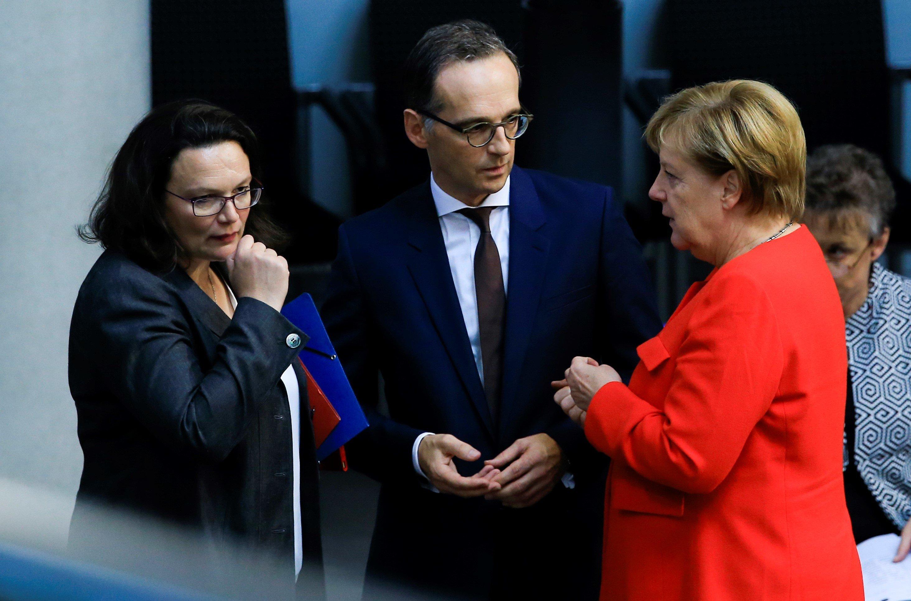 Droht die nächste Regierungskrise? Nahles, Maas und Merkel im Bundestag.