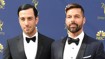 LOS ANGELES, CA - SEPTEMBER 17:  Ricky Martin, Jwan Yosef arrives at the 70th Emmy Awards on September 17, 2018 in Los Angeles, California.  (Photo by Steve Granitz/WireImage,)